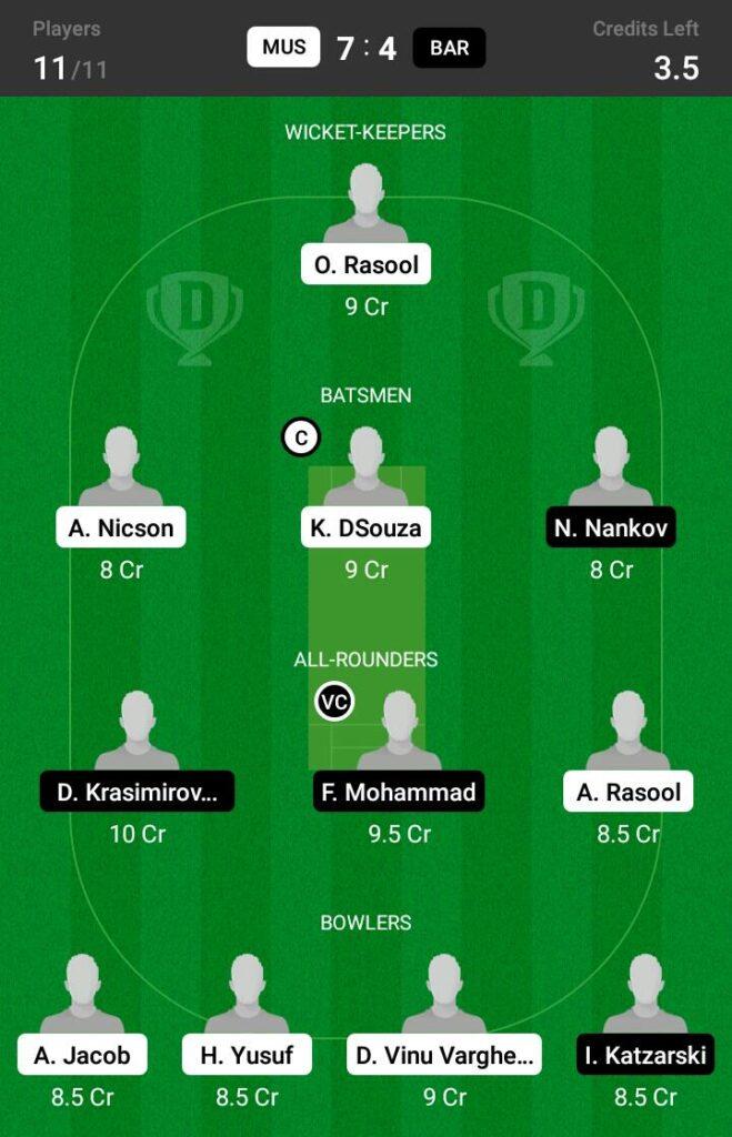 MUS vs BAR Dream11 Prediction Fantasy Cricket Tips Dream11 Team ECS T10 Bulgaria