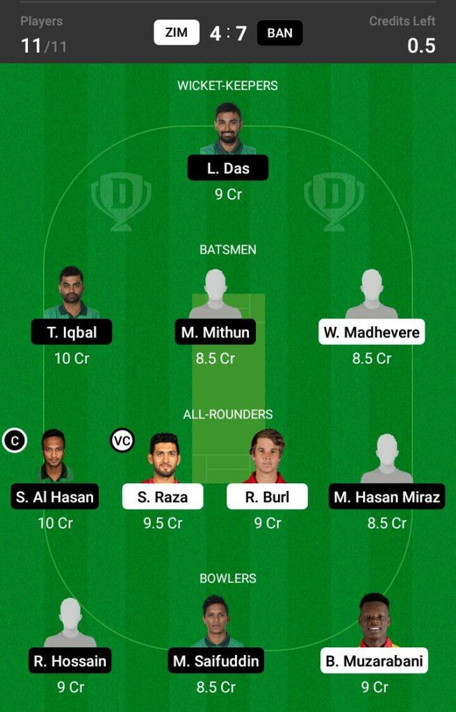 Zimbabwe vs Bangladesh Dream11 Prediction, Fantasy Cricket Tips, Dream 11 Team