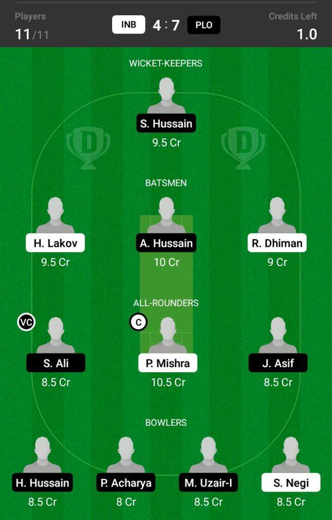 INB vs PLO Dream 11 Prediction Fantasy Cricket Tips Dream 11 Team ECS T10 Bulgaria