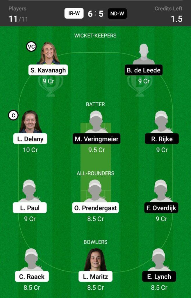Ireland Women vs Netherlands Women Dream11 Prediction, Fantasy Cricket Tips, Dream11 Team