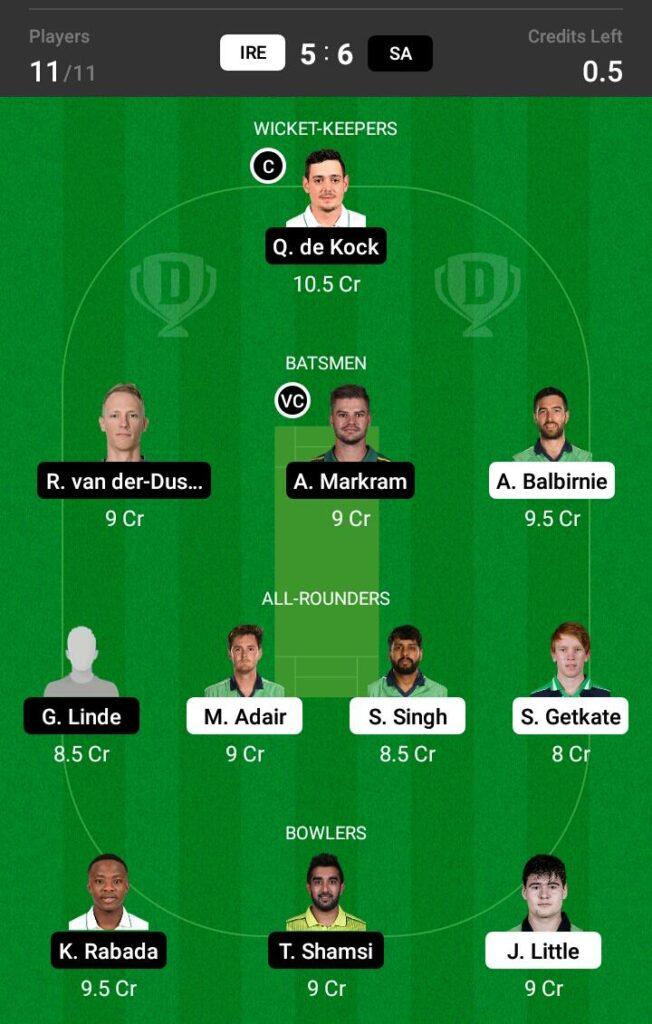 Ireland vs South Africa Dream11 Prediction, Fantasy Cricket Tips, Dream11 Team
