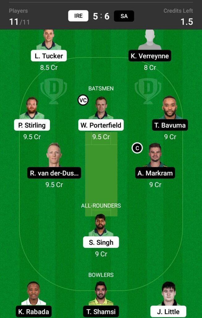 Ireland vs South Africa Dream11 Prediction, Fantasy Cricket Tips, Dream 11 Team