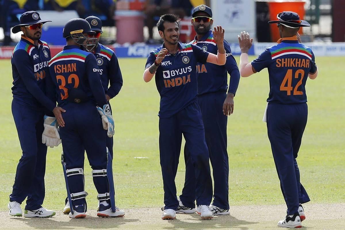 India vs Sri Lanka, 1st ODI: Skipper Shikhar Dhawan, debutant Ishant Kishan shine in 7-wicket victory over SL By: PTI | Updated: July 18, 2021 10:34 PM India vs Sri Lanka, 1st ODI: Chasing 262, India completed the task with 80 balls to spare at the R Premadasa Stadium. Kuldeep Chahal India vs Sri Lanka India's Yuzvendra Chahal celebrates the wicket of Sri Lanka's Avishka Fernando during the first one day international cricket match between Sri Lanka and India in Colombo, Sri Lanka. (AP Photo)
