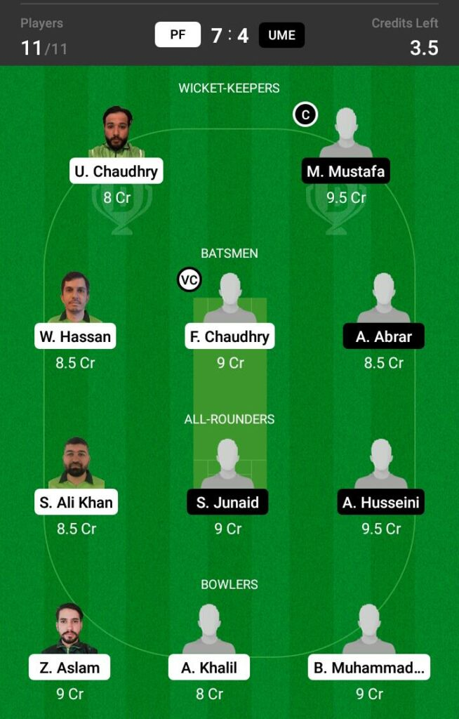 PF vs UME Dream11 Prediction, Fantasy Cricket Tips, Dream XI Team, ECS T10 Sweden 2021