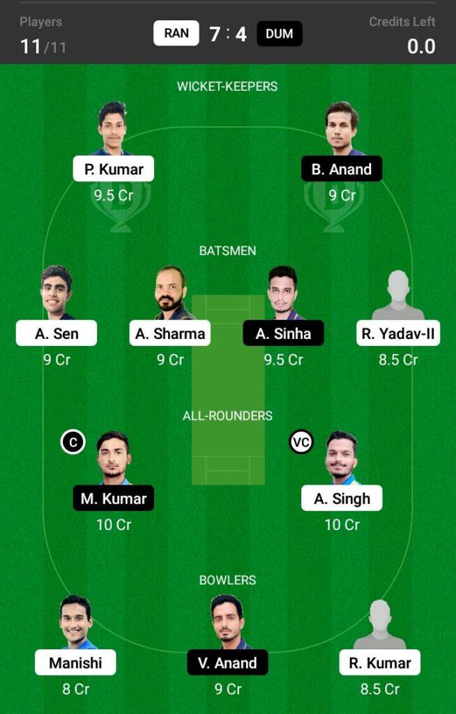 RAN vs DUM Dream11 Prediction, Fantasy Cricket Tips, Dream 11 Team, BYJU'S Jharkhand T20, 2021