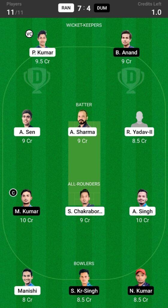 RAN vs DUM Dream11 Prediction, Fantasy Cricket Tips, Dream XI Team, BYJU'S Jharkhand T20, 2021