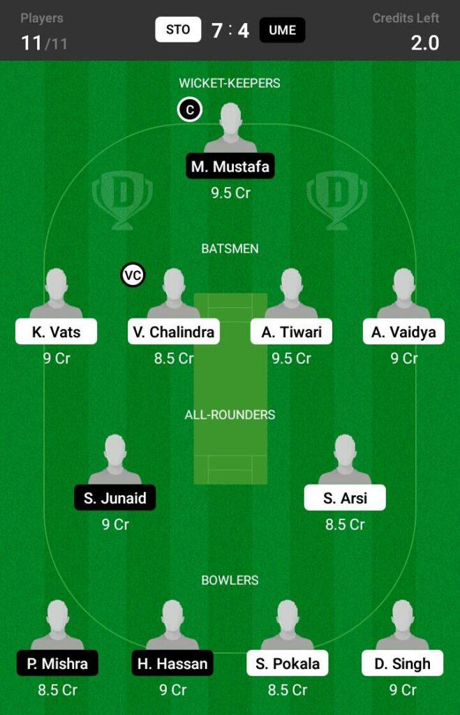 STO vs UME Dream11 Prediction, Fantasy Cricket Tips, Dream XI Team, ECS T10 Sweden 2021