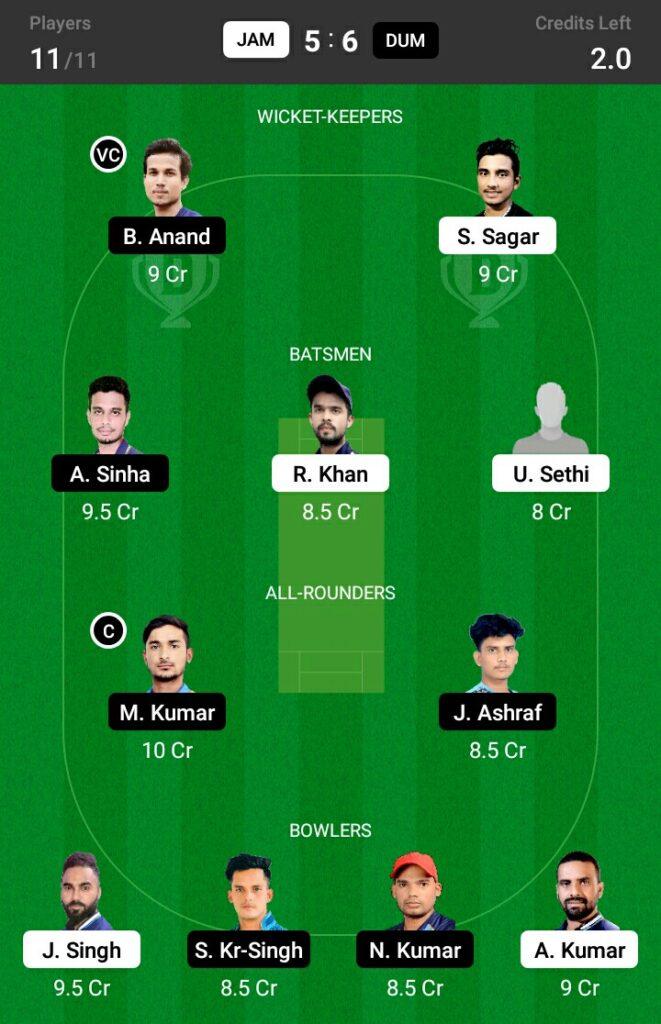 JAM vs DUM Dream11 Prediction, Fantasy Cricket Tips, Dream 11Team, BYJU'S Jharkhand T20, 2021