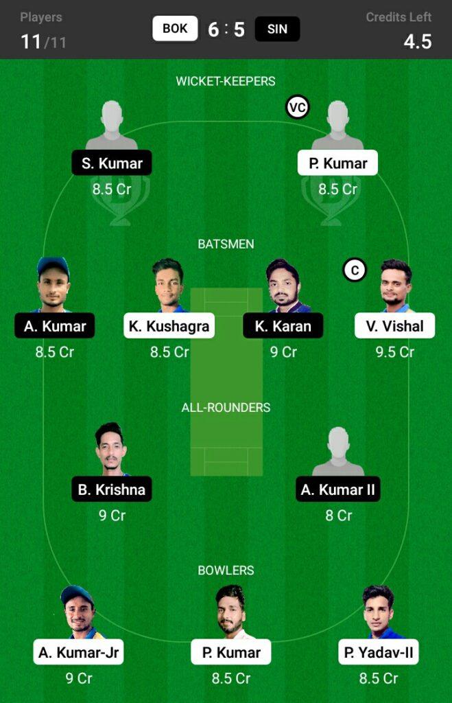 BOK vs SIN Dream11 Prediction, Fantasy Cricket Tips, Dream 11 Team,BYJU'S Jharkhand T20, 2021