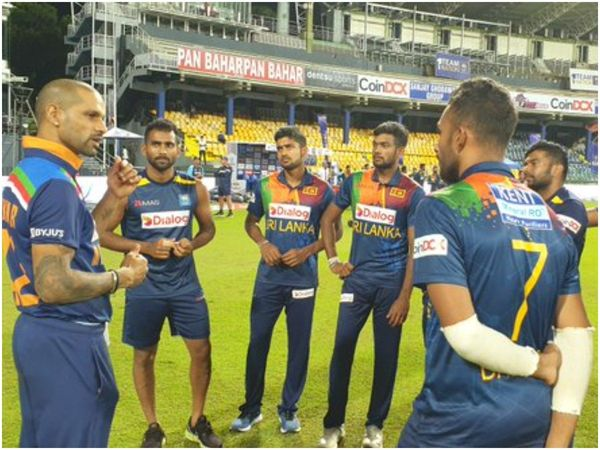 Shikhar Dhawan interacts with SL cricketers post India's T20I series defeat
