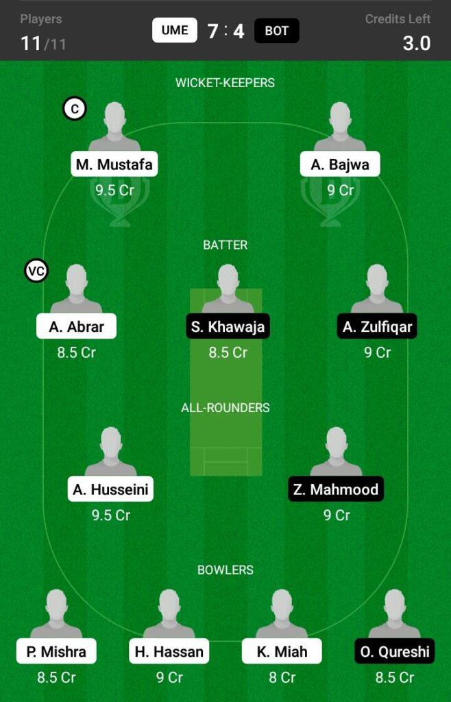 UME vs BOT Dream11 Prediction, Fantasy Cricket Tips, Dream XI Team, ECS T10 Sweden 2021