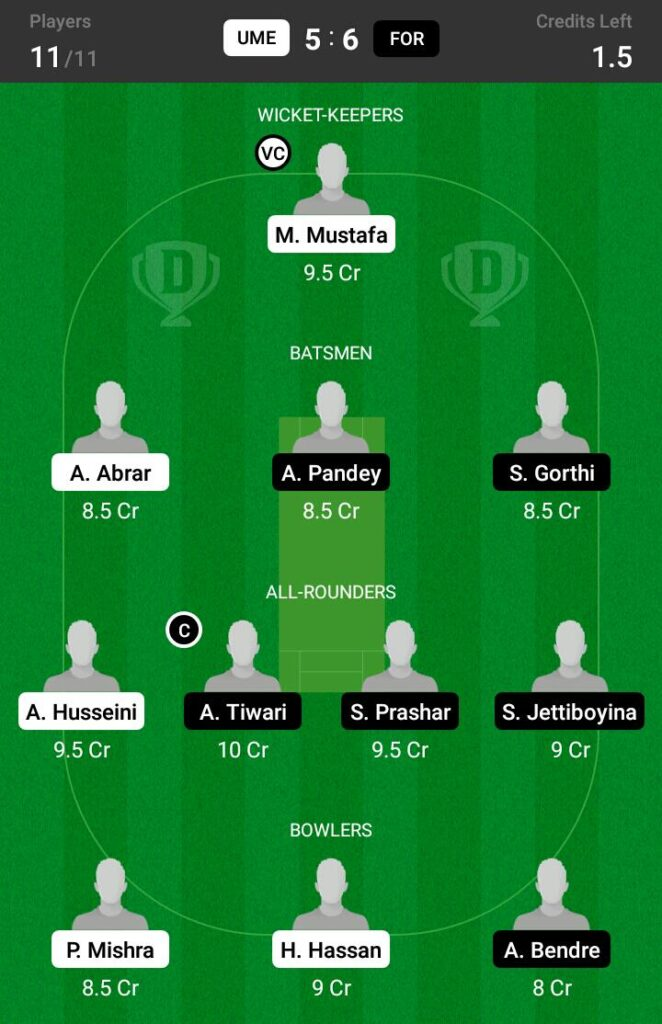 FOR vs UME Dream11 Prediction, Fantasy Cricket Tips, Playing XI, Pitch Report and Injury Update- ECS T10 Sweden 2021 1