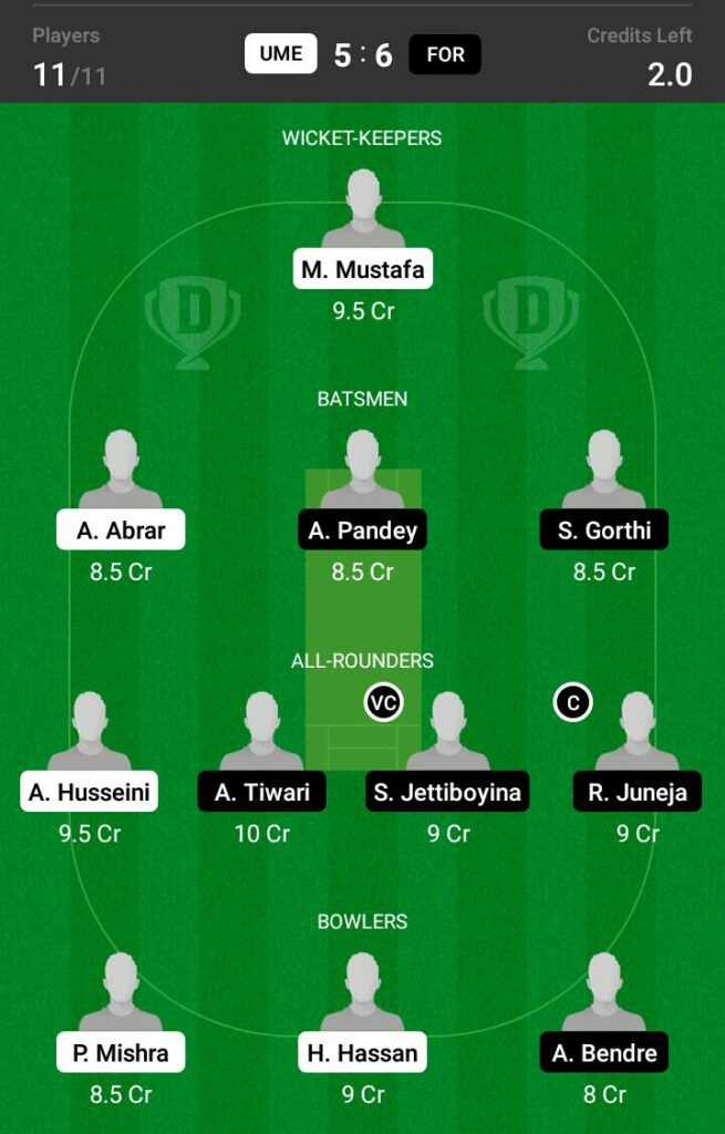 FOR vs UME Dream11 Prediction, Fantasy Cricket Tips, Playing XI, Pitch Report and Injury Update- ECS T10 Sweden 2021 2