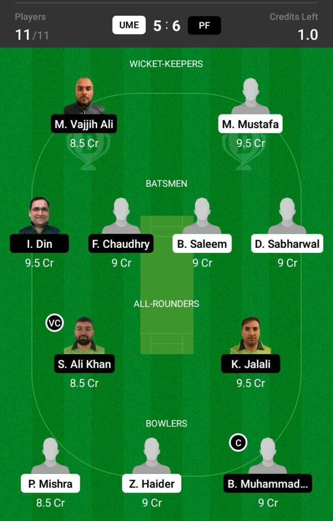 PF vs UME Dream11 Prediction, Fantasy Cricket Tips, Dream 11 Team, ECS T10 Sweden, 2021