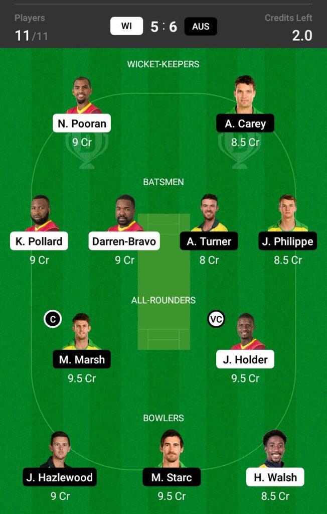West Indies vs Australia Dream11 Prediction, Fantasy Cricket Tips, Dream11 Team