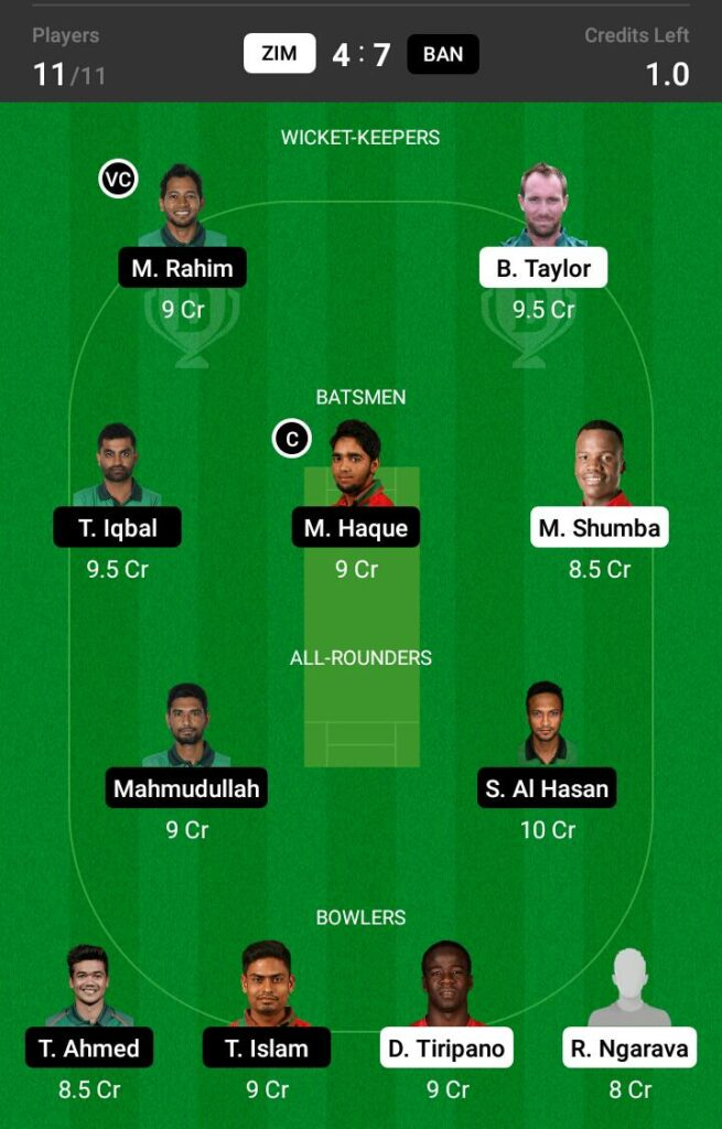 Zimbabwe vs Bangladesh Dream11 Prediction Fantasy Cricket Tips Dream11 Team