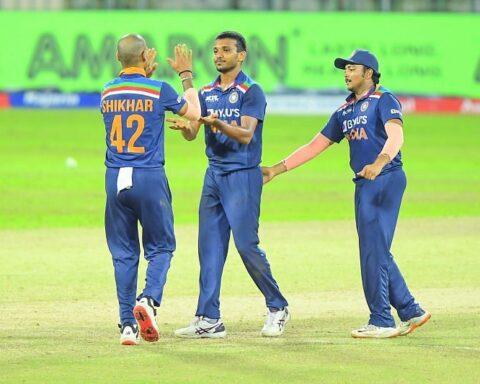 Chetan Sakariya picked up two wickets in the third ODI of the India vs Sri Lanka series (Image Source: Twitter)