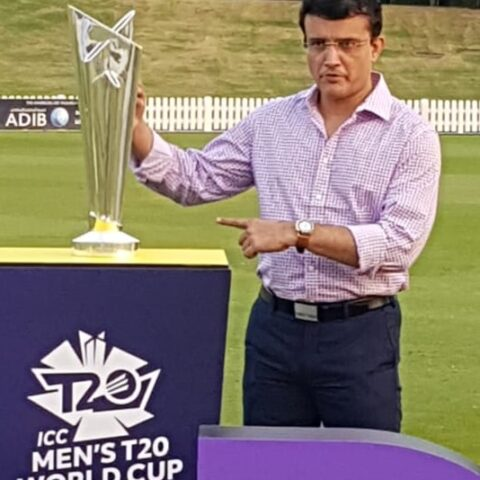Sourav Ganguly reveals T20 world Cup trophy | Image Credit: Twitter