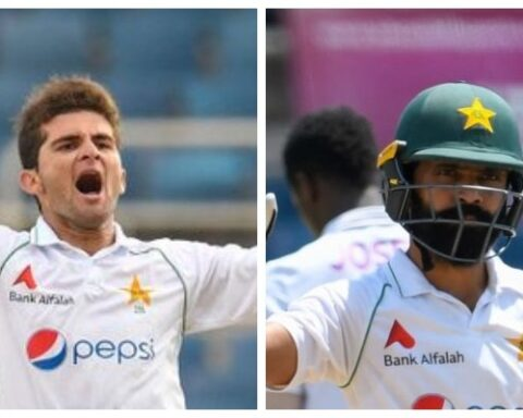 Shaheen Afridi celebrates after taking a wicket (L) and Fawad Alam acknowledges the crowd after scoring a century. Photo: AFP