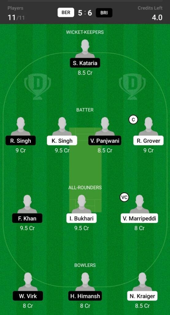 BER vs BRI Dream11 Prediction, Fantasy Cricket Tips, Dream11 Team, ECS T10 Dresden 2021