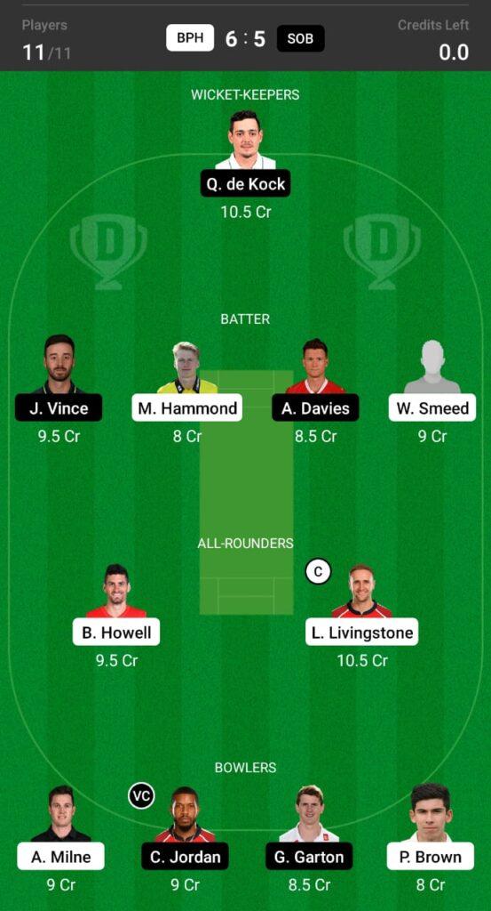 BPH vs SOB Dream11 Prediction, Fantasy Cricket Tips, Dream XI Team, The Hundred Men's Competition 2021