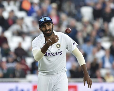 India's Jasprit Bumrah fields during the third day of first test cricket match between England and India, at Trent Bridge in Nottingham, England, Friday, Aug. 6, 2021. AP Photo/Rui Vieira