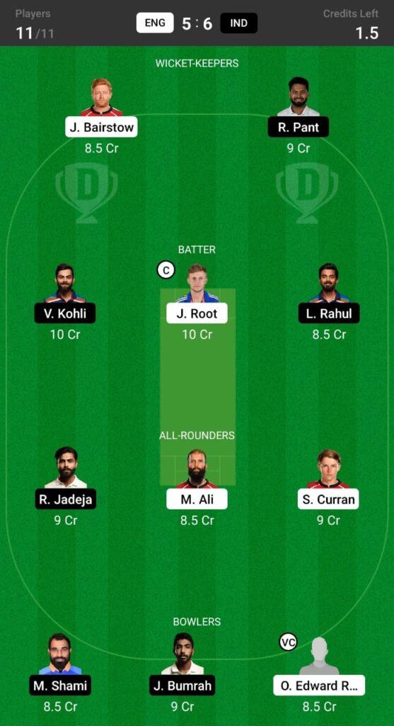England vs India Dream11 Prediction, Fantasy Cricket Tips, Dream11 Team