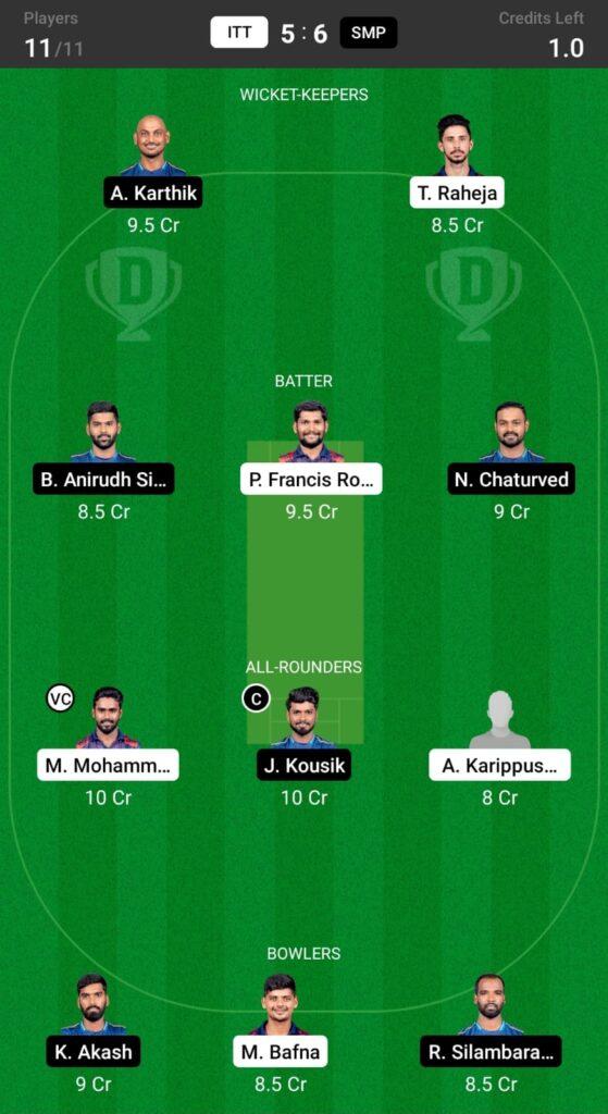 ITT vs SMP Dream11 Prediction, Fantasy Cricket Tips, Dream XI Team, Shriram TNPL T20, 2021