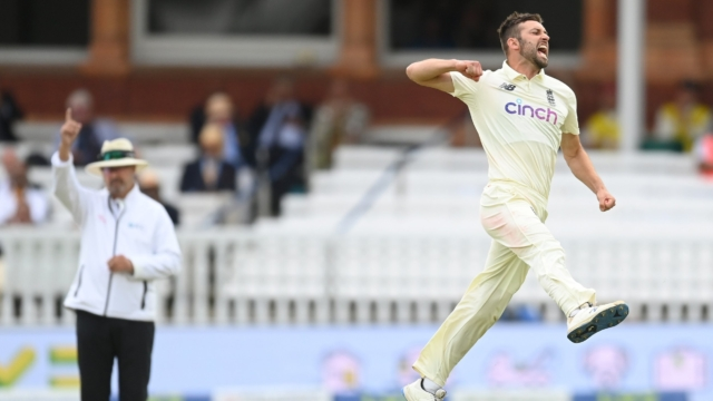 Mark Wood of England celebrates after dismissing Cheteshwar Pujara of India during the fourth day of the 2nd LV= Test match between England and India at Lord's Cricket Ground on August 15, 2021 in London, England. (Photo by Philip Brown/Popperfoto/Popperfoto via Getty Images)