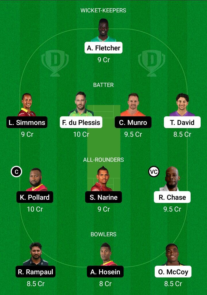 CPL 2021- SLK vs TKR Dream11 Prediction, Fantasy Cricket Tips, Dream11 Team