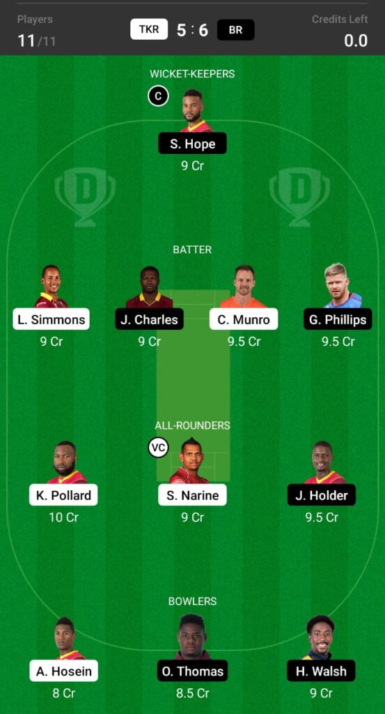 CPL 2021- TKR vs BR Dream11 Prediction, Fantasy Cricket Tips, Dream11 Team
