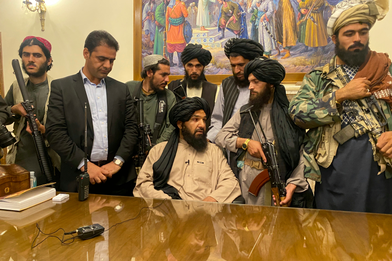 Taliban fighters take control of Afghan presidential palace after the Afghan President Ashraf Ghani fled the country, in Kabul (Image Credit: AP)