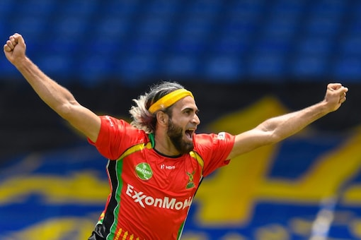 Imran Tahir celebrates the fall of another TKR wicket at the Werner Stadium, St Kitts & Nevis Patriots.