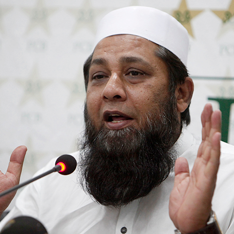 Inzamamul Haq addresses a press conference in Lahore. — AP/File