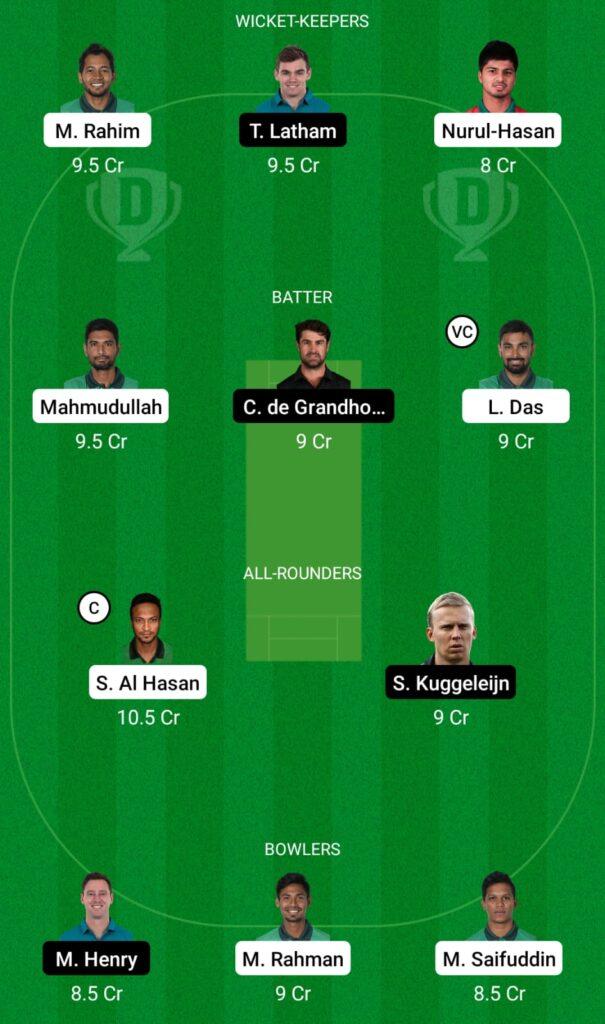Bangladesh vs New Zealand Dream11 Prediction, Fantasy Cricket Tips, Dream11 Team