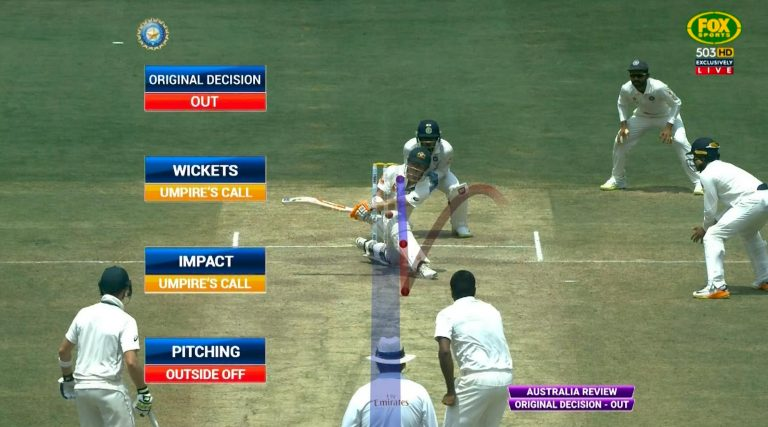 Warner was given out since it shows Umpire's Call on review while the Original decision was OUT (Image Source: Twitter)