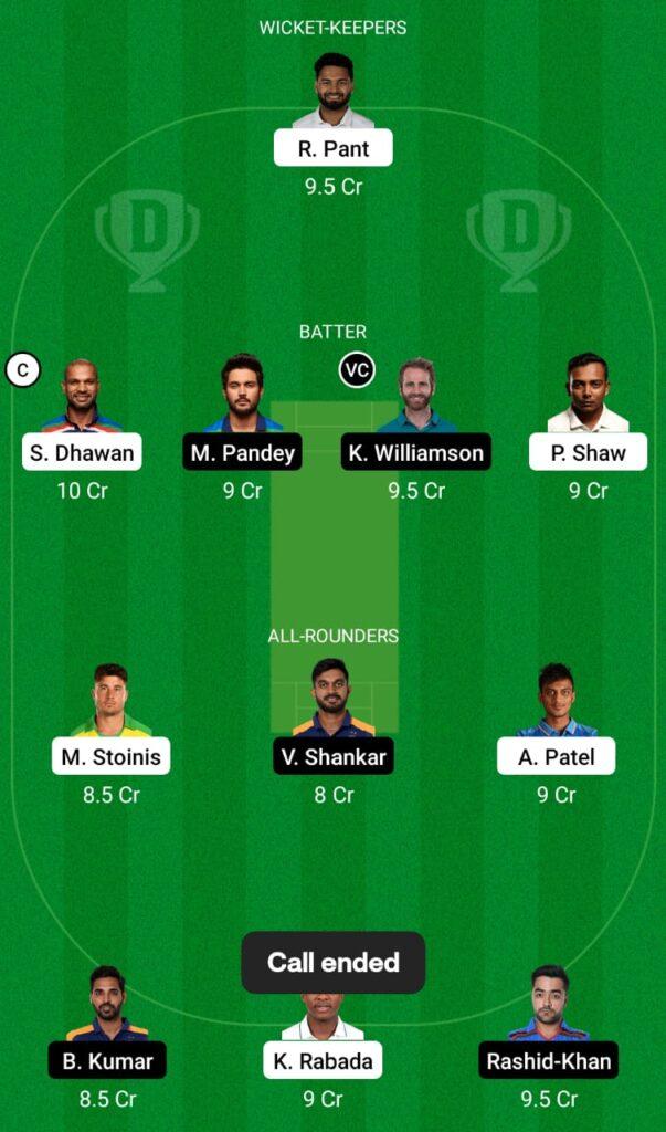 IPL 2021- DC vs SRH Dream11 Prediction, Fantasy Cricket Tips, Dream11 Team