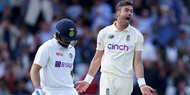 England's James Anderson (R) celebrates the dismissal of India's captain Virat Kohli (L) during the first day of third Test cricket match at Headingley cricket ground in Leeds, England. (Photo | AP)