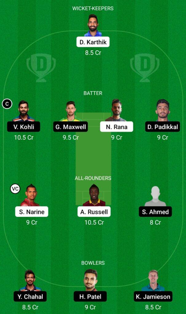 IPL 2021- KKR vs RCB Dream11 Prediction, Fantasy Cricket Tips, Dream11 Team