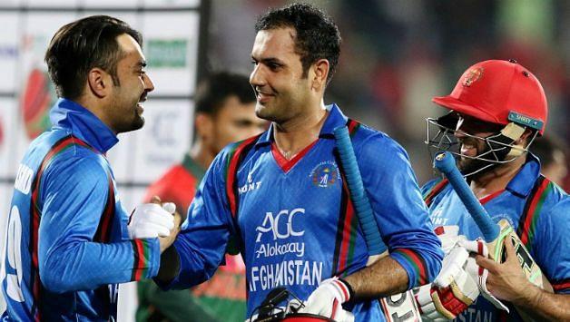 Rashid Khan and Mohammad Nabi playing for Aghanistan. Credits: Twitter