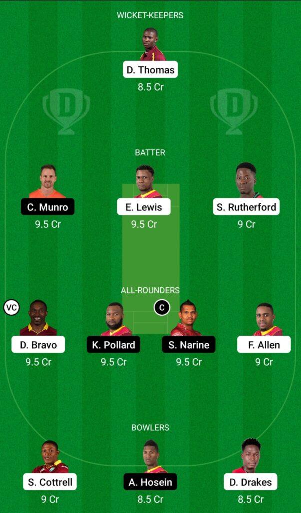 CPL 2021- SKN vs TKR Dream11 Prediction, Fantasy Cricket Tips, Dream11 Team