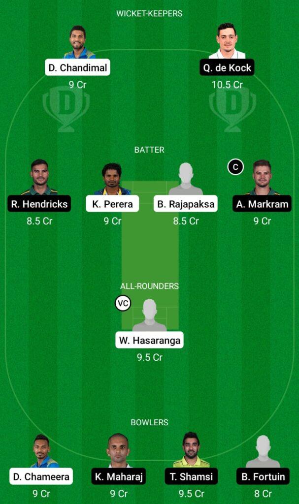 Sri Lanka vs South Africa Dream11 Prediction, Fantasy Cricket Tips, Dream11 Team