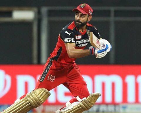Royal Challengers Bangalore captain Virat Kohli in action against Rajasthan Royals in IPL 2021. (IPL)