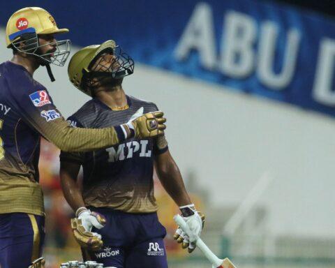 Venkatesh Iyer and Rahul Tripatih during their 88-run partnership, Image: BCCI