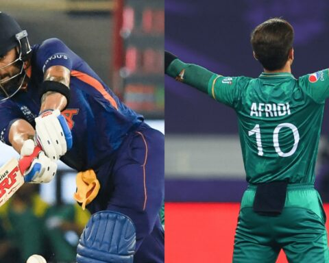 Virat Kohli played a 57-run knock while Shaheen Afridi celebrating one of his three wickets | Photo: ICC