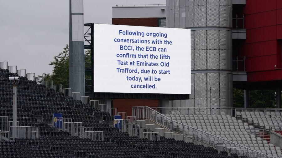 Manchester Test: The message on the scoreboard after the fifth Test was called off PA Photos/Getty Images
